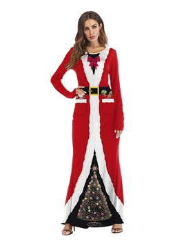 Long Sleeve Christmas Print Color Block Sexy Costumes
