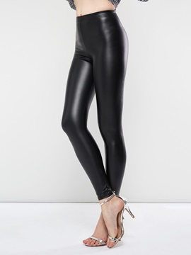 Plain PU Skinny Sexy Women's Leggings