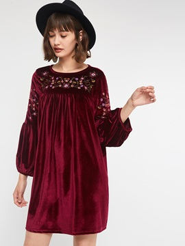 Round Neck Floral Pullover Women's Casual Dress