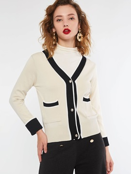 Pocket Single-Breasted Regular Women's Sweater