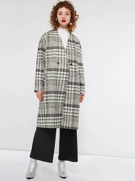 Straight Regular Double-Breasted Mid-Length Women's Overcoat