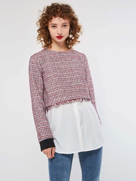 Patchwork Round Neck Women's Sweater