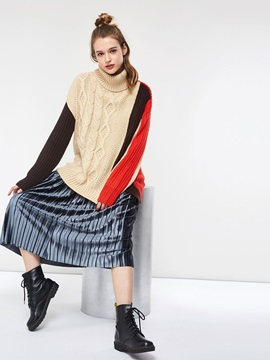 Patchwork Turtleneck Women's Sweater