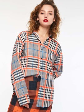 Lapel Plaid Mid-Length Loose Women's Shirt