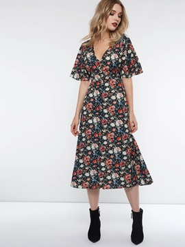 V-Neck Print Floral Regular Women's Maxi Dress