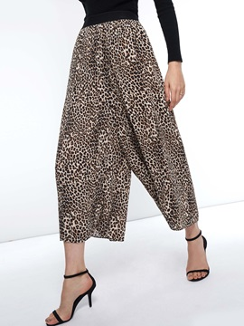 Loose Elastics Leopard Wide Legs Women's Casual Pants
