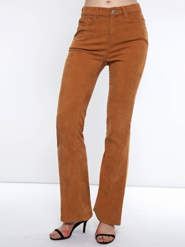 Corduroy Slim Plain Zipper Women's Casual Pants