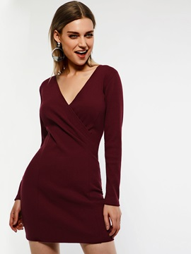 Long Sleeve Pullover Regular V-Neck Women's Bodycon Dress