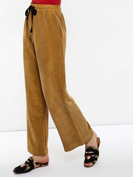 Loose Plain Lace-Up High Waist Women's Casual Pants