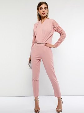 Plain Lace Long Sleeve Full Length Women's Jumpsuit