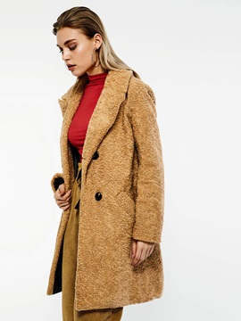 Button Double-Breasted Thick Women's Overcoat