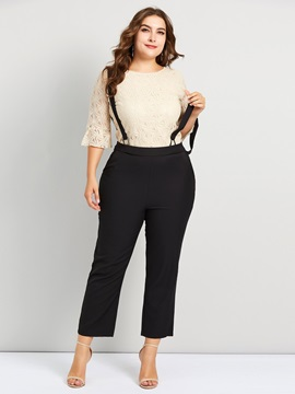 Plus Size Suspenders Blouse Women's Two Piece Set