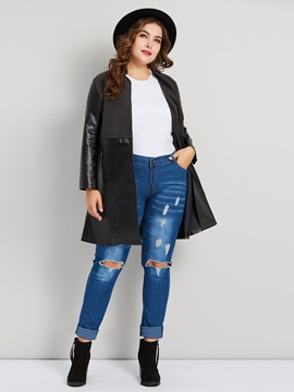 Plus Size Straight Mid-Length Fall Women's PU Jacket