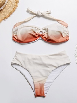 Lace-Up Gradient Sexy Bikini Set