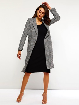One Button Straight Regular Long Spring Women's Overcoat