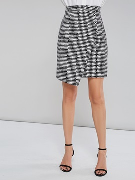Asymmetrical Houndstooth Fall Women's Mini Skirt
