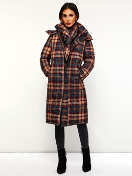 Plaid Straight Single-Breasted Long Hooded Women's Cotton Coat