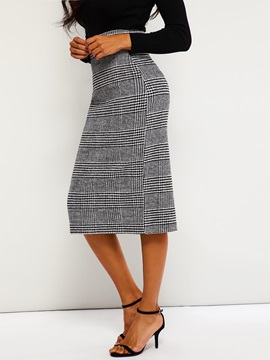 Split Pencil Skirt High Waist Plaid Spring Women's Skirt