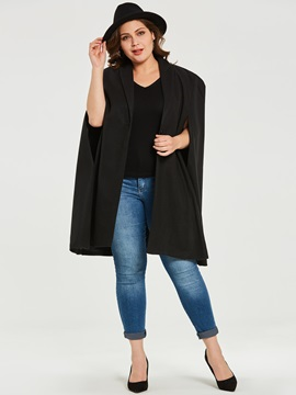 Plus Size Long Sleeve Notched Lapel Long Women's Cape