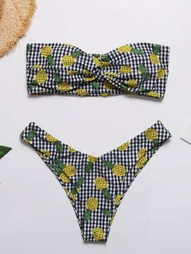 Sexy Color Block Pattern Bikini Set