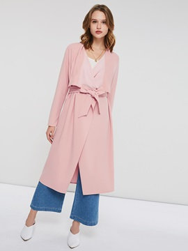 Loose Lapel Lace-Up Long Women's Trench Coat