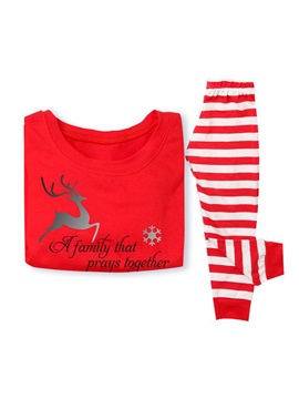 Christmas Animal Letter Stripe Family Pajamas
