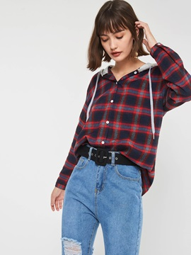Plaid Hooded Mid-Length Long Sleeve Women's Shirt