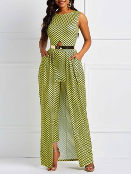 Sleeveless Full Length Plaid Loose Women's Jumpsuit