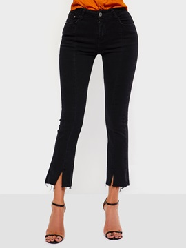 Split Plain Zipper Slim Women's Cropped Jeans