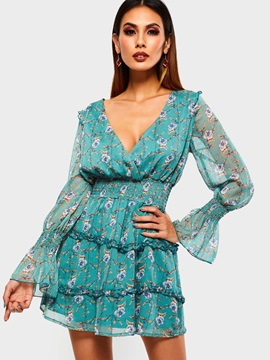 Long Sleeve Print V-Neck Floral Pullover Women's A-Line Dress