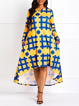 Asymmetric Long Sleeve Pullover Print Women's A-Line Dress