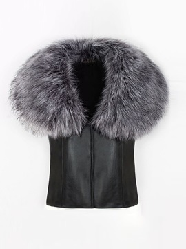 Flocking Winter Faux Fur PU Women's Vest