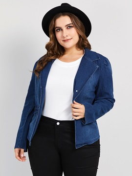 Plus Size Slim Single-Breasted Lapel Denim Women's Jacket