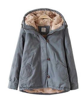 Hooded Zipper Thick Faux Fur Liner Women's Jacket
