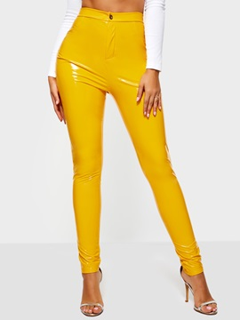 Plain Skinny Women's PU Leggings