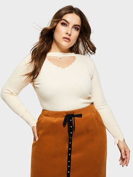 Plus Size Choker Neck Wave Cut Fall Women's Sweater