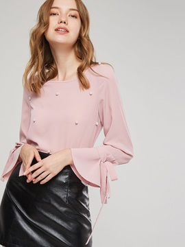 Flare Sleeve Bead Round Neck Women's Blouse