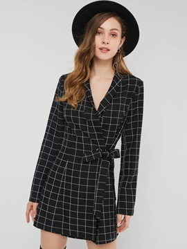 Long Sleeve Lapel England Plaid Women's A-Line Dress