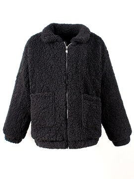 Loose Zipper Lapel Women's Teddy Bear Coat