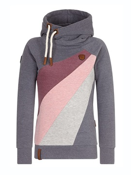 Pullover Color Block Long Sleeve Hooded Women's Hoodie