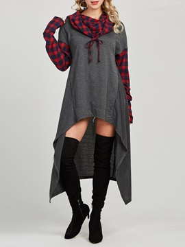 Asymmetric Plaid Long Sleeve Long Women's Hoodie