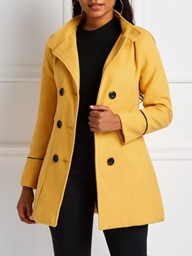 Regular Button Double-Breasted Notched Lapel Mid-Length Women's Overcoat