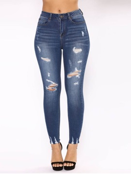 Pencil Pants Worn Plain Skinny High Waist Women's Jeans