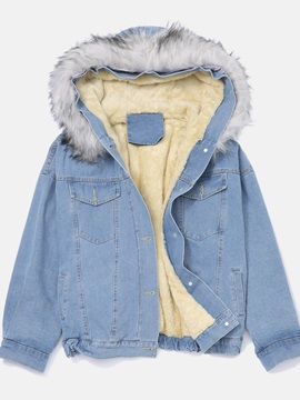 Loose Denim Hooded Women's Cotton Padded Jacket