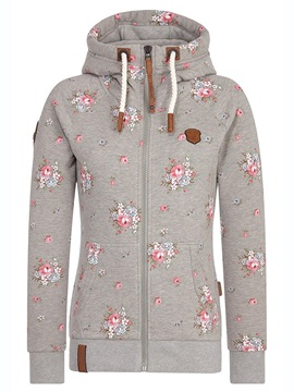 Zipper Floral Pocket Print Long Sleeve Women's Hoodie