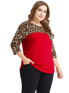 Leopard Animal Print Plus Size Three-Quarter Sleeve Women's T-Shirt