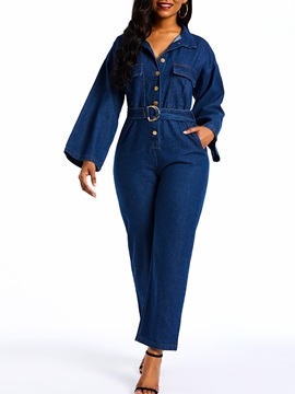 Denim Plain Full Length High Waist Straight Women's Jumpsuit