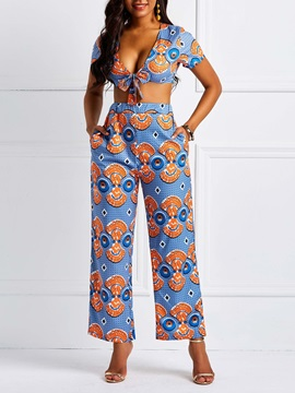 Pants Sexy Print Pullover Straight Women's Two Piece Set