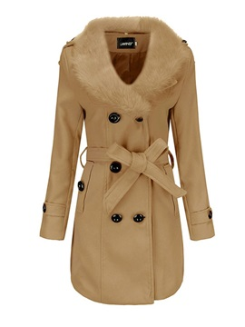 Double-Breasted Regular Slim Lapel Mid-Length Women's Overcoat