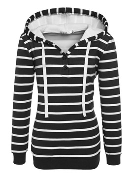 Stripe Regular Button Hooded Long Sleeve Women's Hoodie